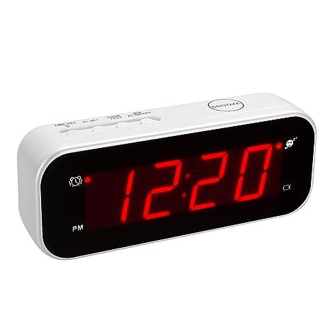 Kwanwa Tamaño Pequeño, Funciona con Pilas Digital Tiempo y Temperatura Reloj Despertador con 0,