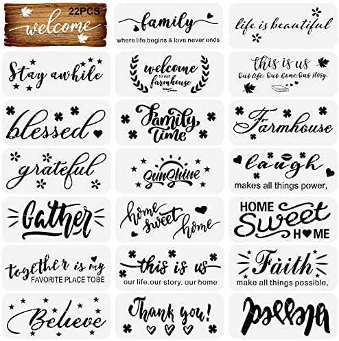22 Pcs Word Stencils Inspirational Quote Stencils Home Sign Stencils Welcome Stencil for Painting on Wood DIY Crafts Art Home Decor Reusable Plastic Stencils