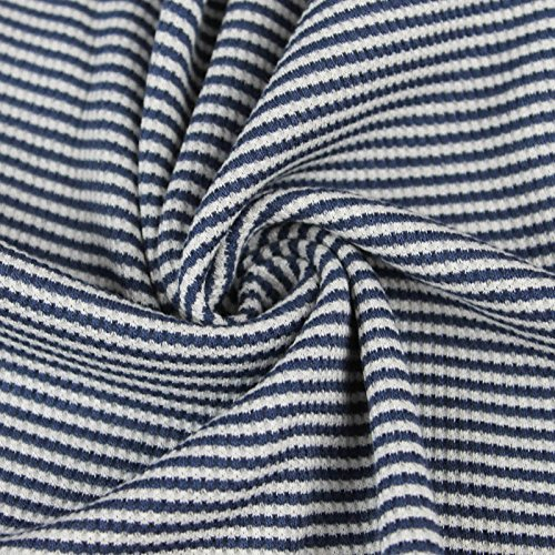 Denim/Off-White Stretch Thermal Stripe Fabric (Fabric Denim Stripe)