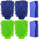 4 Pack Car Wash Mitts, YuCool Waterproof Microfiber Scratch Free, High Density, Ultra-Soft