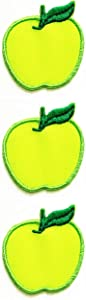 Set 3 Pcs Mini Small Green Apple Fruit Cartoon Kid Iron Sew On Patch Stickers for Hat Cap Polo Backpack Clothing Jacket T-Shirt Embroidered Iron On Sew On Patch (19)