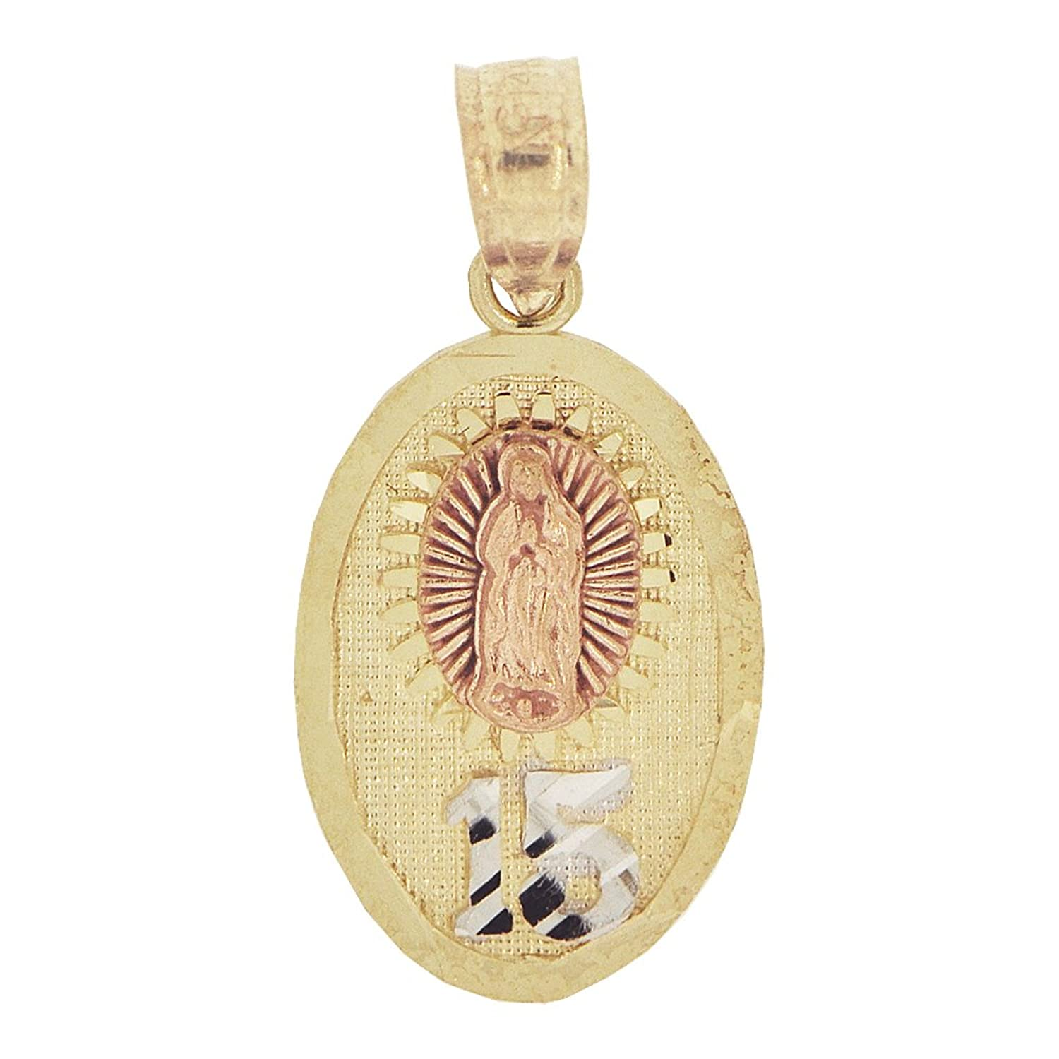 14k Tricolor Gold, Small 15 Anos Quinceanera Virgin Mary Guadalupe Pendant Religious Charm