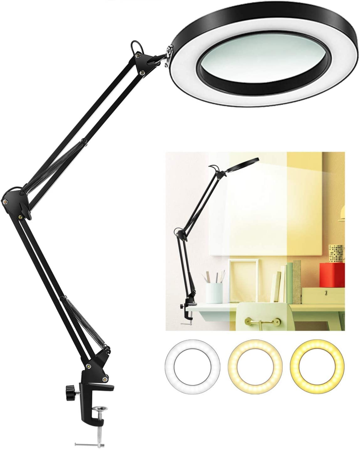 LANCOSC LED Magnifying Lamp with Clamp, 1,500 Lumens Stepless Dimmable, 3 Color Modes, 5-Diopter 4.3″ Real Glass Lens, Adjustable Swivel Arm Lighted Magnifier Light for Reading Craft Close Work-2.25X