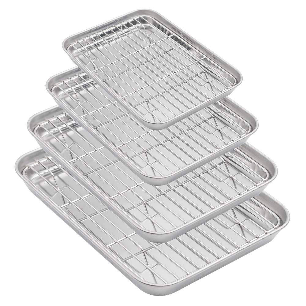 Aspire Baking Sheets and Racks Set, Stainless Steel Oven & Dishwasher Safe Wire Rack, Easy Clean-S + M + L + XL