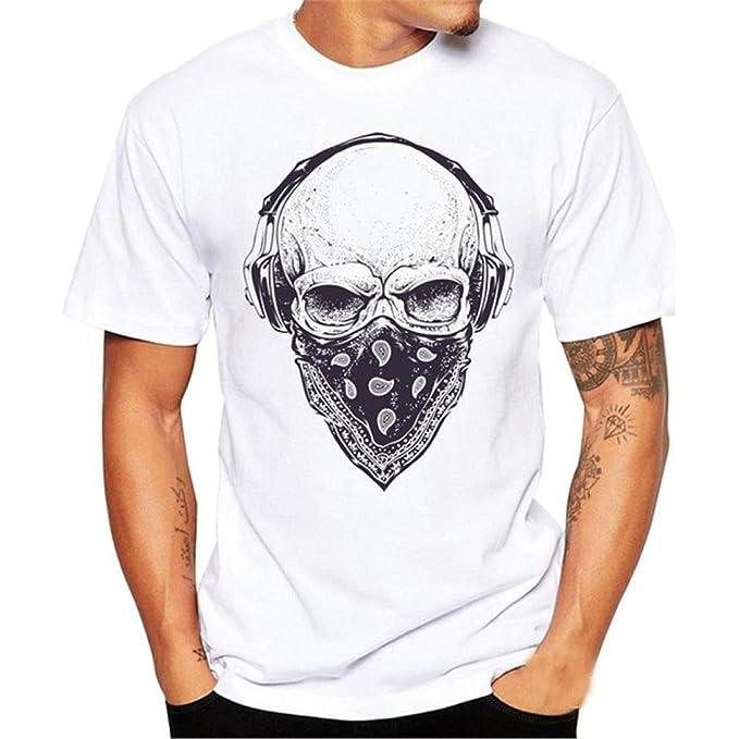 K-youth Camiseta Hombre, Casual Cráneo Impresión Camiseta para Hombre tee Cuello Redondo Tops