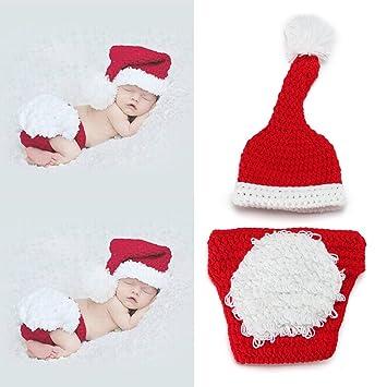 6a85c5cd9edb Amazon.com : yazi Santa Claus Crochet Knitted Outfit Newborn Unisex Baby  Costume Photography Prop Christmas Gift : Baby
