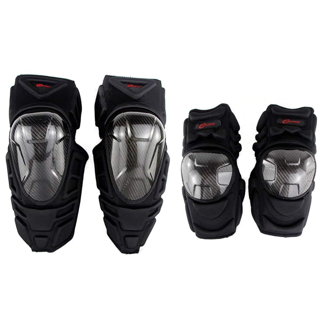 Aeshesn オートバイモトクロスサイクリング肘と膝パッドプロテクターガードアーマーセットブラック4個 (サイズ : 4-piece)  B07QC2JP8J