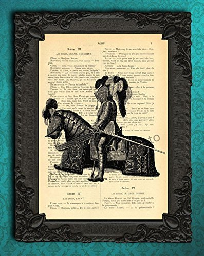 Knight and horse plate armour wall decor, antique Late Middle Ages armor illustration, Renaissance period print, cavalier with broadsword dictionary page