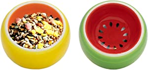 Hamster Food Bowl, Ceramic - Rabbit Food Dish and Water Bowl for Bunny Guinea Pig Gerbil Ferret Syrian Hamster Chinchilla (2 Pack)