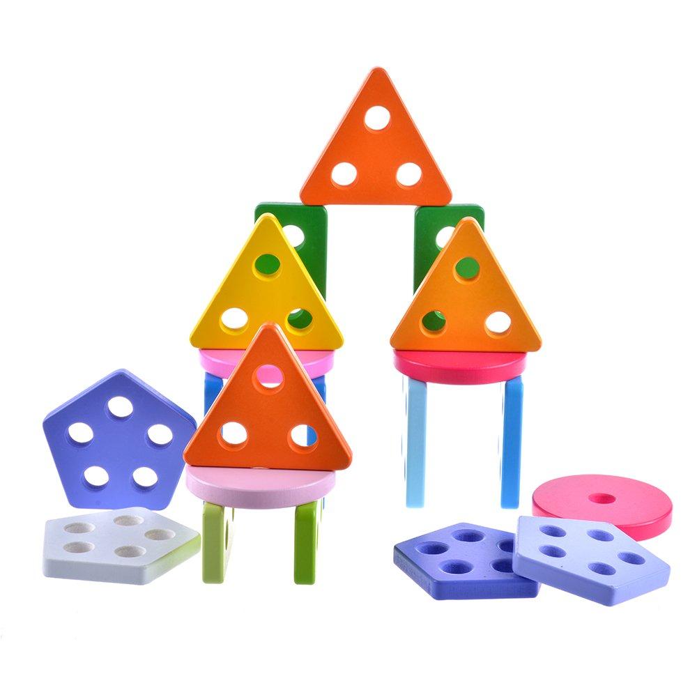 Yikky h/ölzerne p/ädagogische Vorschulerwerbsform-Farben-Anerkennungs-geometrisches Brett-Block-Stapelnsortierpuzzlespiel spielt f/ür Kleinkinder u Baby-Farberkennung und Geometrie-Lernen