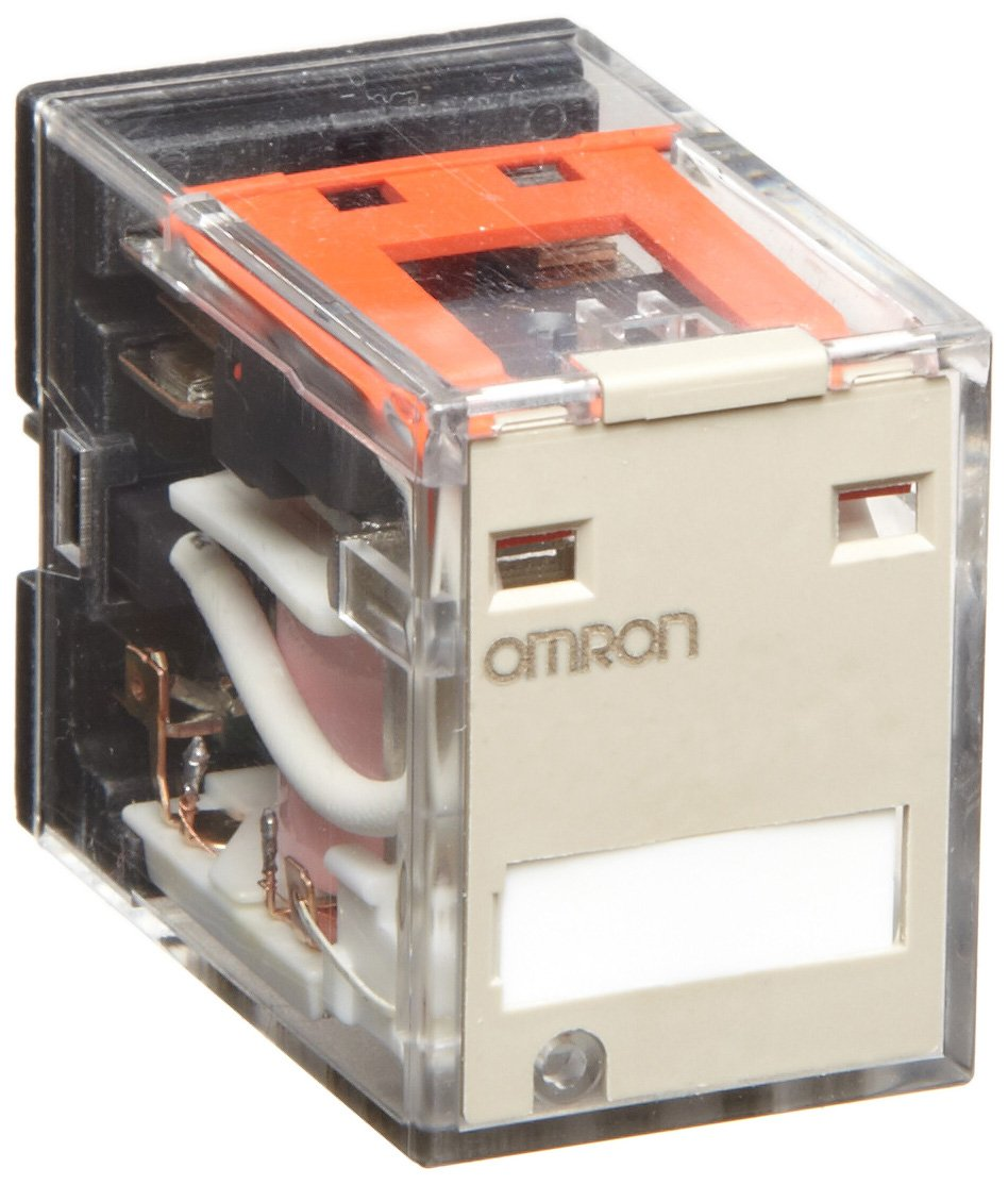 Omron MY4N-CR AC110/120 (S) General Purpose Relay, Standard Coil Polarity, LED Indicator, Built-In CR Type, Plug-In Socket/Solder Terminals, Quadruple Pole Double Throw Contacts, 9.9 to 10.8 mA at 50 Hz and 8.49 to 9.2 mA at 60 Hz Rated Load Current, 110
