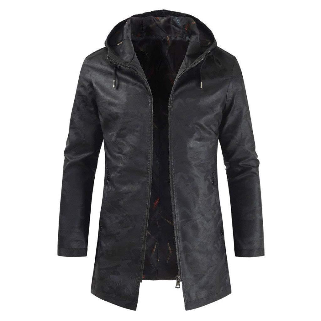 jin&Co Hooded Windbreaker Men Solid Color Zipper Up Slim Fit Casual Hoodies Jacket Trench Coat Parka Outwear Black by jin&Co Men's Jacket