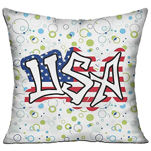 Mokjeiij American Flag Thanksgiving Pillow Cover Sofa Bed Decoration Square Cushion 1818. ()