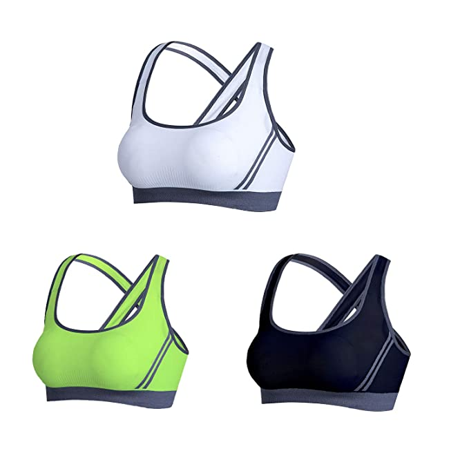 NSSZ Womens Sujetador Deportivo Cross Back Full Coverage Wirefree 1/3 Pack Mejor para Yoga Workout Gym Activewear: Amazon.es: Ropa y accesorios
