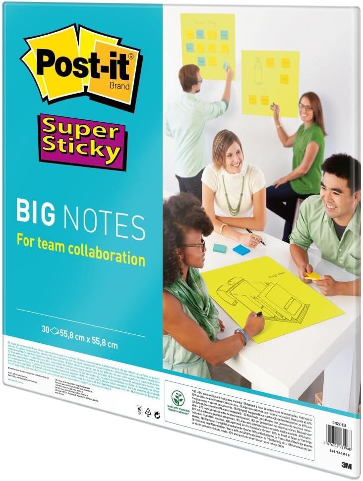 Gro/ße Farbige Haftnotizen Liniert Post-it Bunte Super Sticky Big Notes 558 x 558 mm 30 Blatt Selbstklebende Klebezettel und Haftnotizzettel f/ür Beruf und Studium