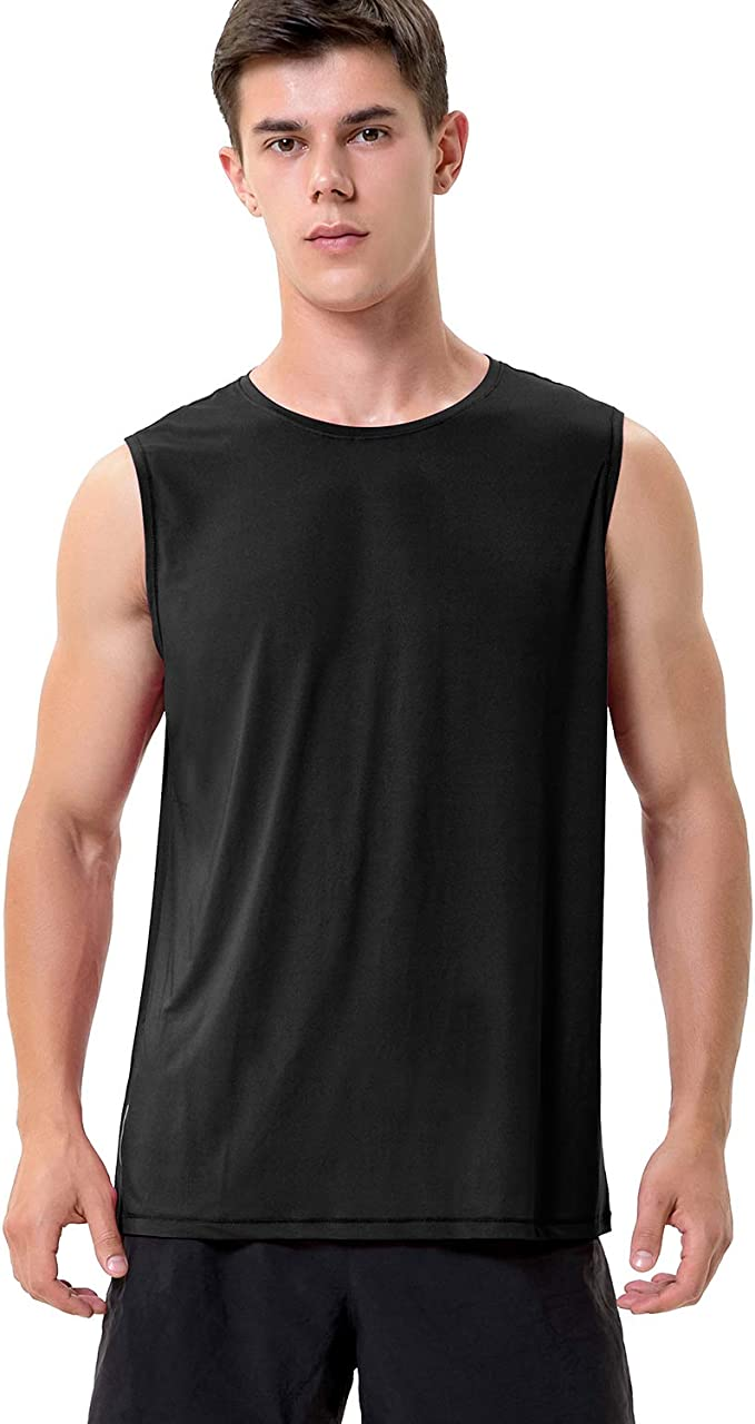 MeetHoo Tank Tops for Men Workout Sleeveless T Shirts Gym Tank Tee Muscle Bodybuilding Fitness Undershirt Red