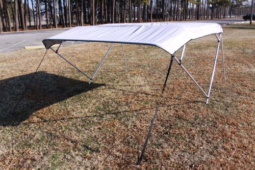 Aluminum 10ft Frame (New Grey/Gray Pontoon / Deck Boat Vortex 4 Bow Bimini Top 10' Long, 91-96