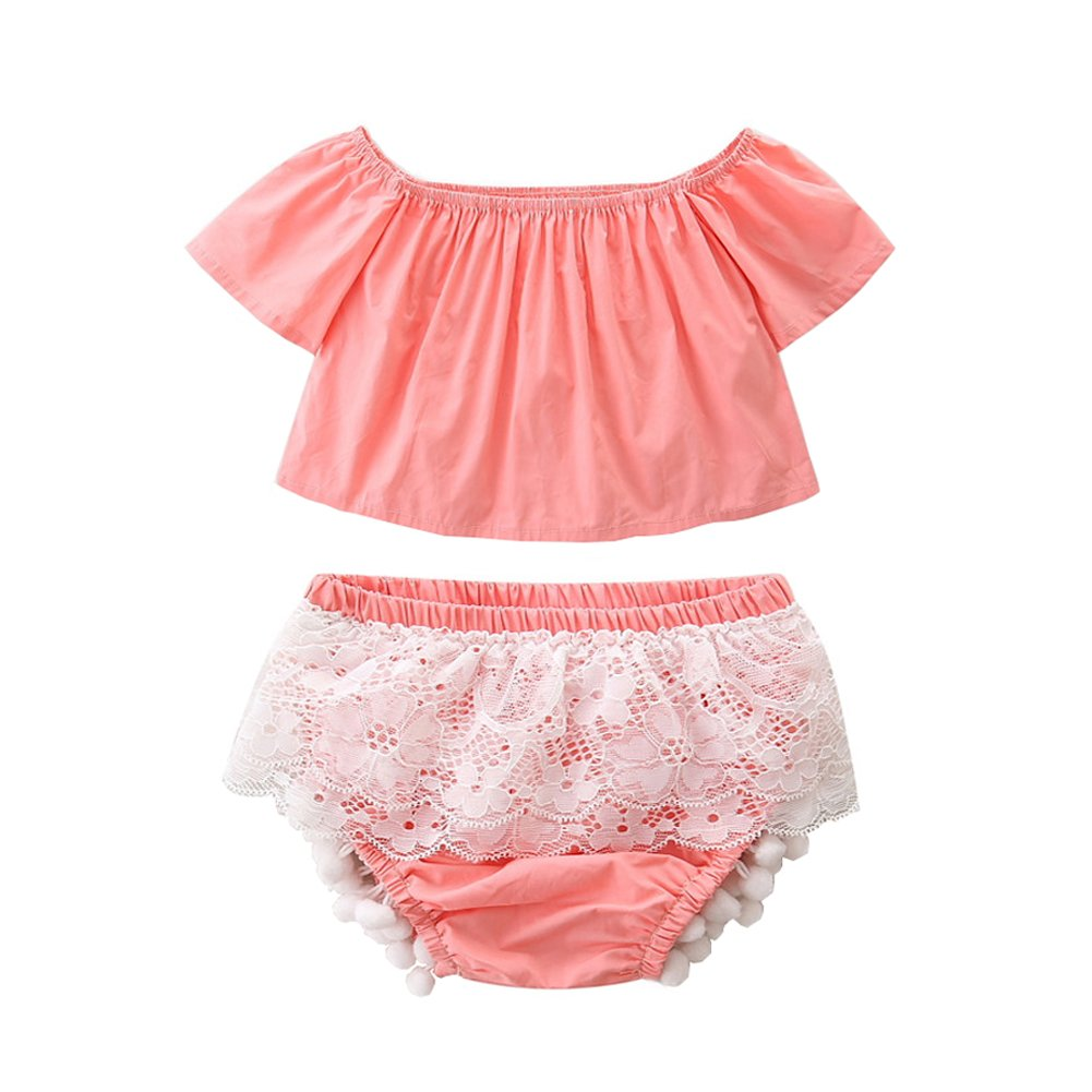 Scfcloth Newborn Baby Girl Off Shoulder Top + Tassel Lace Bottom Clothing Set Summer Outfit