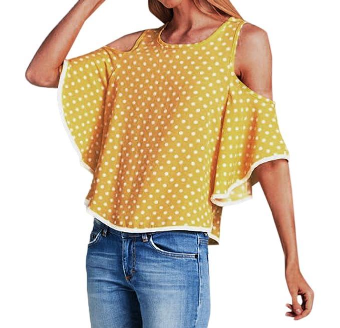 Tops para Mujeres Hermoso Moda Cuello Redondo Cuerno Manga Camisetas de Hombro Frío Blusa Casual Suelto Polk T-Shirt Camisas Remata: Amazon.es: Ropa y ...