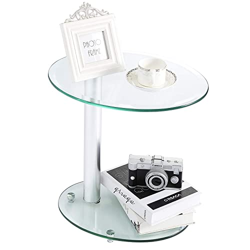 Rfiver Oval Clear Coffee Table End Table Top Small Side Table Corner Table for Living Room Bedroom Office Tempered Glass, ET3001