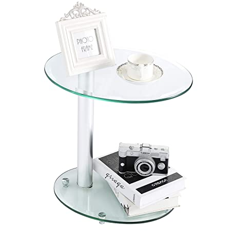 Rfiver Oval Coffee Table Small Side Table End Table, Save Space Corner Table for Living Room Bedroom, Clear Tempered Glass W17.7 x D13.8 x H17.7, ET3001