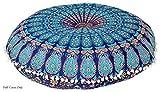 Aakarshan 32'' Mandala Floor Pillow Cushion Seating Throw Cover Hippie Decorative (Blue)