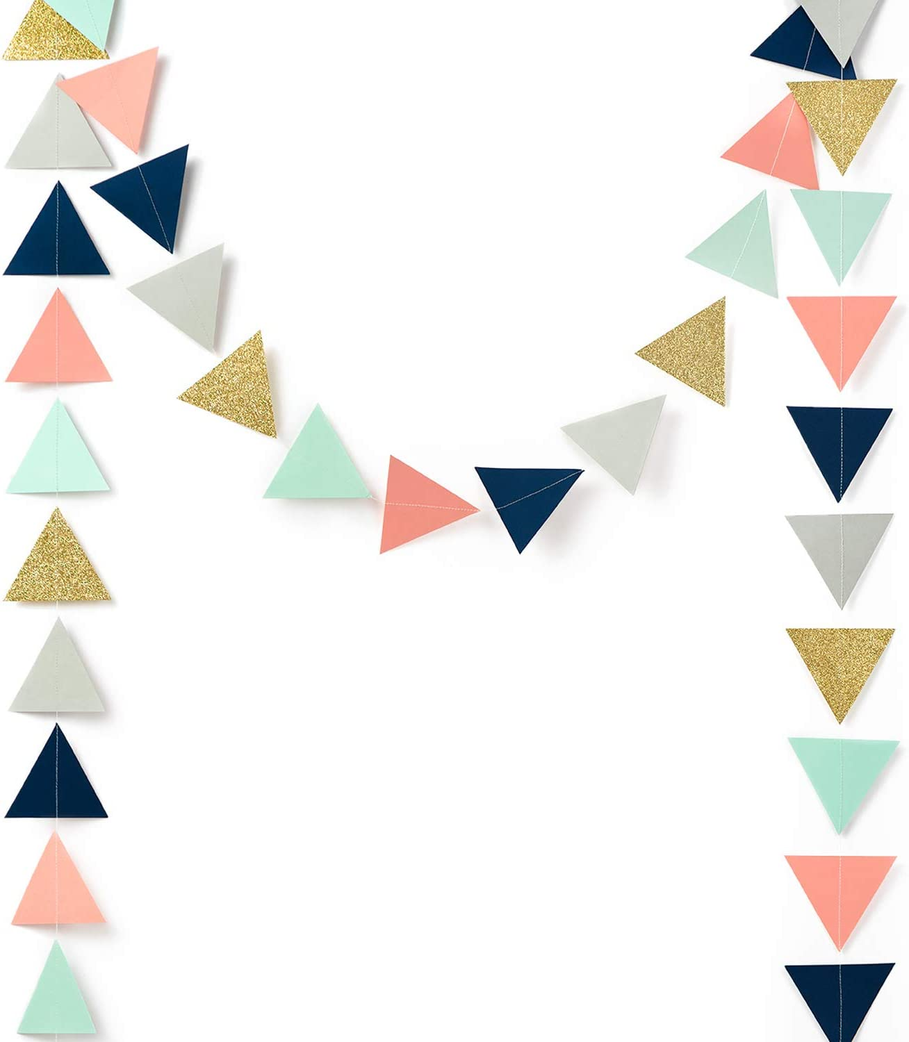 Paper Garland Decorations, Triangle Bunting Garland, Tribe Party Banner (Gold Glitter, Navy Blue, Mint, Gray, Coral) for Wedding Decor, Birthday Party, Baby Shower, Bridal Shower, 10 Feet