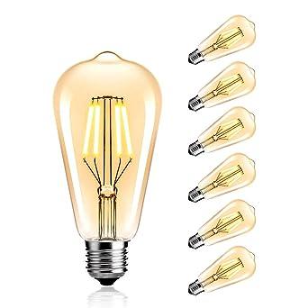 LED Edison Gl/ühbirne Dimmable 4W ST64 Squirrel Cage Filament Ideal f/ür Nostalgie und Retro Beleuchtung Modell E27,2800K StillCool Vintage Edison LED Birne Warm Wei/ß 6 Pack Klarglas