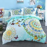 Cliab Butterfly Bedding For Girls Twin Green Moroccan Bohemian Style Sheets 100% Cotton Duvet Cover Set 3 Pieces