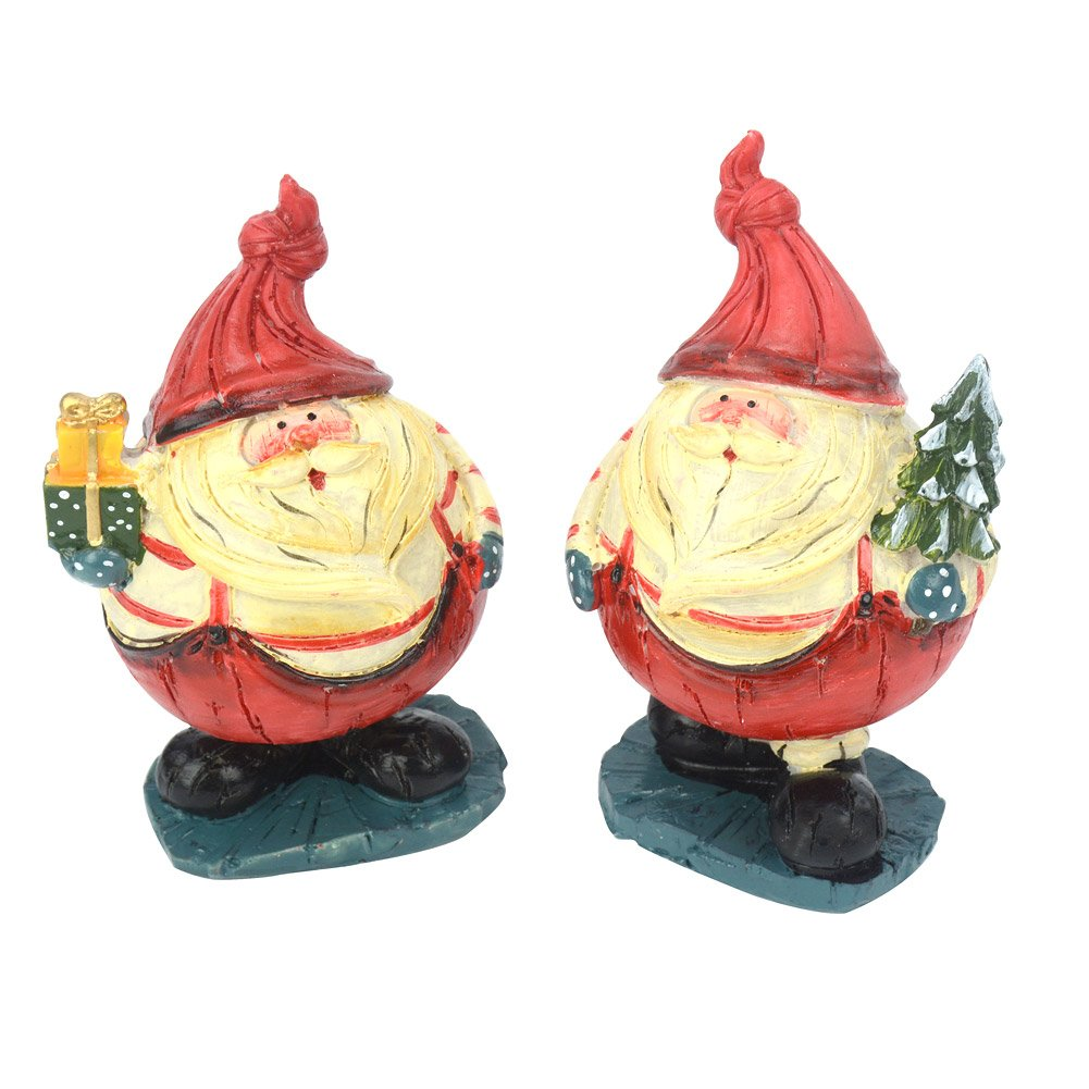 Set Of 2 Santa Claus Snowman Christmas Poly Resin Ornament For Garden Yard Home Desktop Figurine