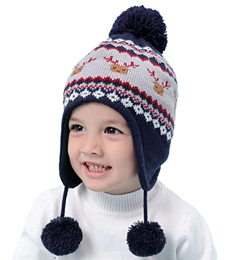 7c432deca Connectyle Toddler Boys Girls Knit Kids Hat with Earflap Winter Beanie Hats