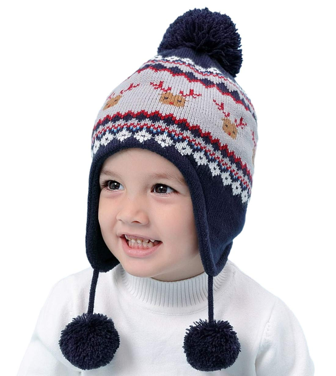 f6ae11db7fd Connectyle Toddler Infant Baby Knit Kids Hat Fleece Lined Earflap Beanie Hat  Warm Winter Skull Cap Navy