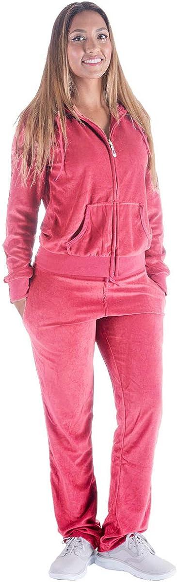 Facitisu Tracksuit for Women Set 2 Piece Joggers Velour Jogging Sweat Outfits Hoodie and Sweatpants Set