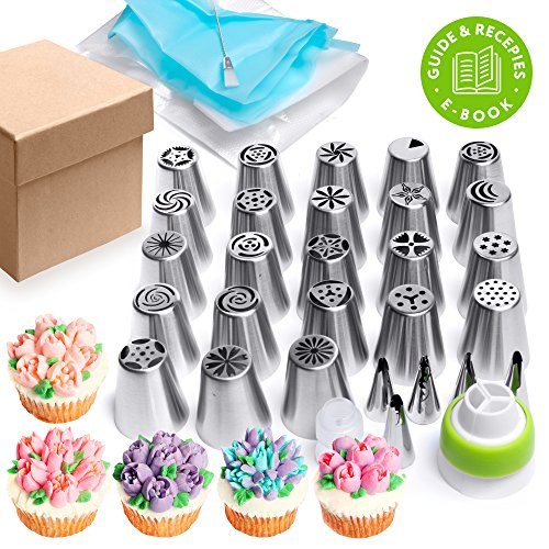 Russian piping tips Set 44 pcs - Cakes decorating supplies - Cupcake decorating - 20 Icing nozzles - 5 Ruffle piping tips - 15 Pastry disposable bags - 2 Couplers + brush - Buttercream Bouquet