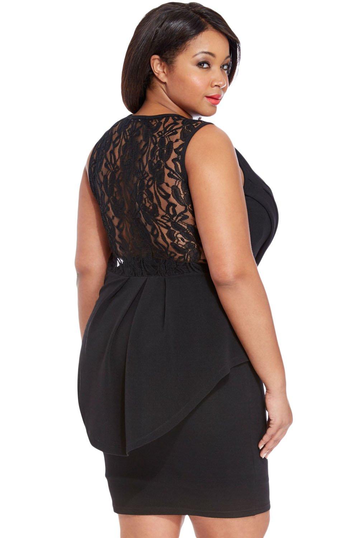 Neue Damen Plus Größe Schwarz Spitze hinten Schößchen Kleid Büro ...