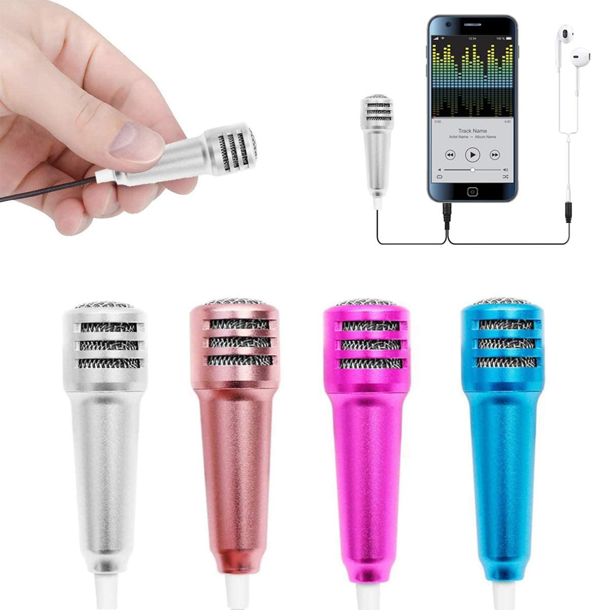 NCTP Mini Karaoke Microphone,Portable Vocal Instrument Microphone for Mobile Phone Laptop Notebook Apple iPhone Sumsung Android with Earphone (Siliver)