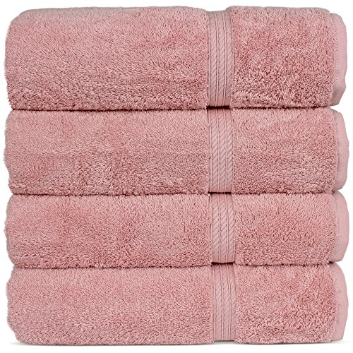 Superior Long-stable Turkish Cotton 4-Piece Bath Towels, Eco-Friendly, (Pink)