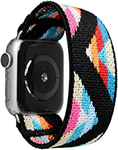 Tefeca Chevron Pattern Elastic Compatible/Replacement Band for Apple Watch 38mm/40mm (Silver Adapters, S fits Wrist Size : 6.0-6.5 inch)