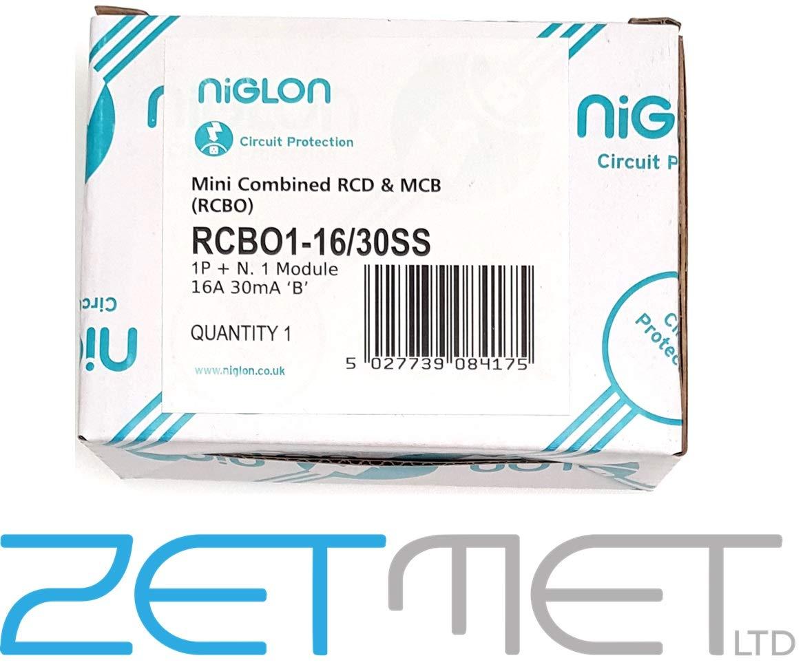 Niglon RCBO1-16//30SS 16 Amp Type B 1 Pole Neutral 230 Volt 30mA 6kA Blue Mini Compact RCBO