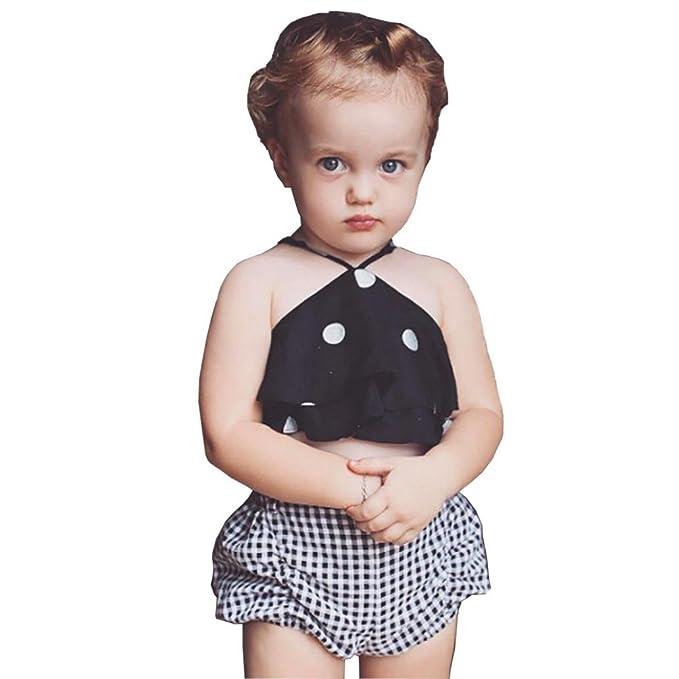 Vestidos niñas,Switchali Recién nacido Infantil Bebé Niña moda sin mangas vendaje Punto camisa +