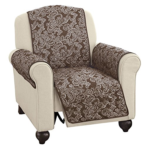- Quilted Paisley Reversible Furniture Protector Cover, Reverse to Solid Colors - Decorative Home Solutions, Chocolate, Recliner