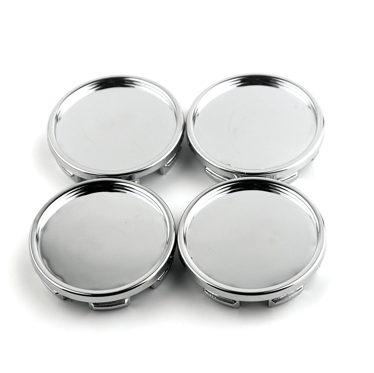 58mm Chrome Silver ABS Car Wheel Center Hub Caps Base Set of 4
