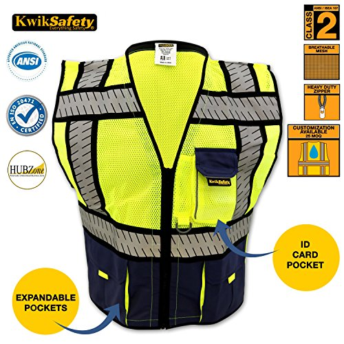 [KwikSafety Fishbone Tape Design Safety Vest | Lightweight High Visibility Reflective Material with Multiple Pockets | Security Construction Motorcycle Police Apparel | Men Women | Blue Mesh |] (Horse Costume Class)