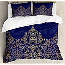 Indigo Duvet Cover Set King Size by Lunarable, Middle Eastern Style Ornament Ottoman Moroccan Cultures Inspired Filigree Pattern, Decorative 3 Piece Bedding Set with 2 Pillow Shams, Gold Indigo