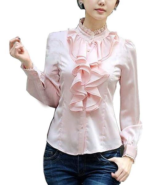 Camisas Mujer Manga Larga Stand Cuello Slim Fit con Volantes Negocios Oficina Primavera Sencillos Tops Blusas Otoño Fiesta Elegantes Moda Colores Sólidos ...