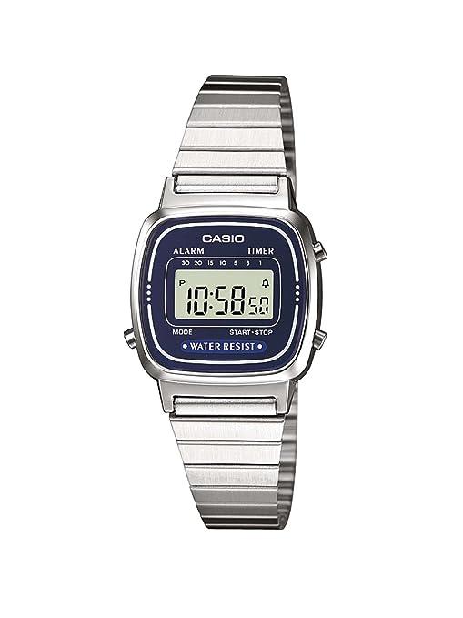 e69ead769455 Casio LA670WEA-2EF - Reloj digital de cuarzo para mujer con correa de acero  inoxidable