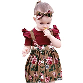 81ba5509b5 NUWFOR 3Pcs Baby Toddler Girls Kids Overalls Skirt +Headband+Romper Clothes  Outfits(Multicolor