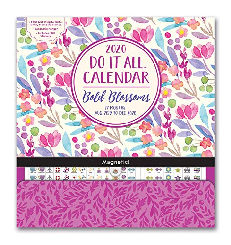 Orange Circle Studio 2020 Do It All Magnetic Wall Calendar, August 2019 - December 2020, Bold Blossoms