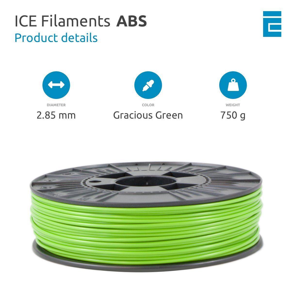 0.75 kg Barbaric Brown ICE Filaments ICEFIL1ABS079 filamento ABS,1.75mm