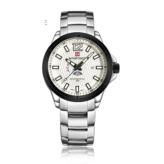 Naviforce reloj causal de la hombre Classic acero inoxidable reloj de cuarzo con calendario, día
